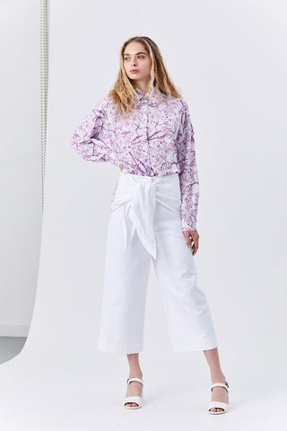 Isa Toile Relaxed Blouse, White & Purple
