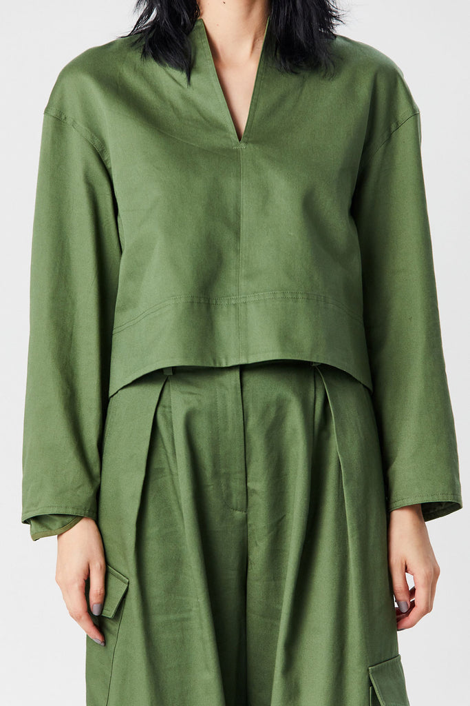 TIBI - Sculpted Split Neck Top, Army