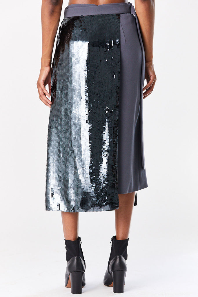 TIBI - Sequin Paneled Skirt, Graphite
