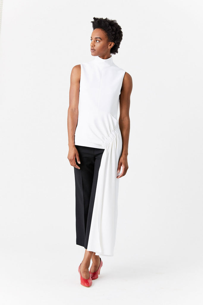 Structured Crepe Drape Mockneck Top, White