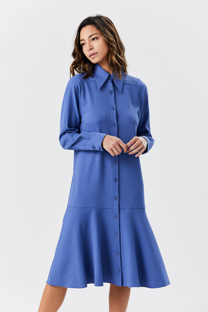 Shirtdress with Flounce, Blue