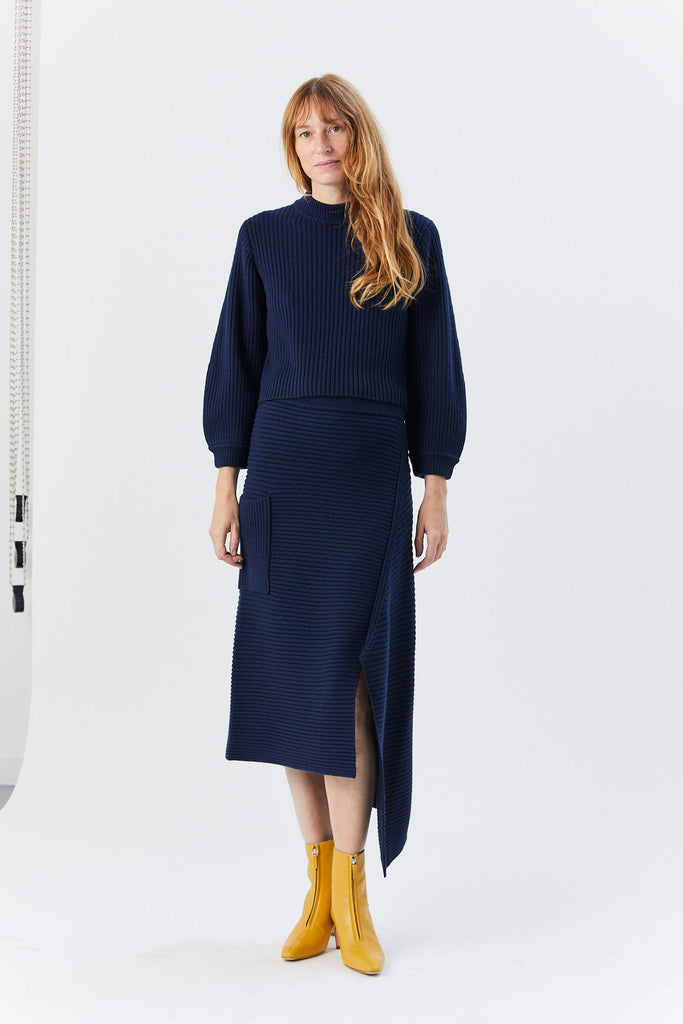 Slit Neck Pullover, Navy