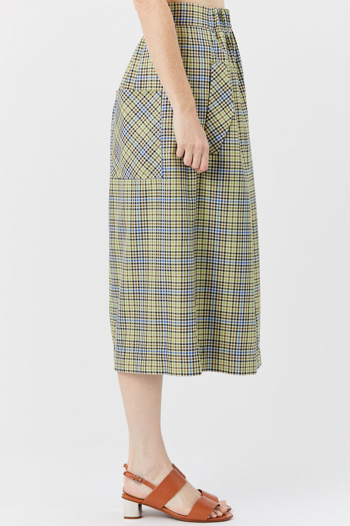 TIBI - Smocking Waisting Skirt, Green & Beige Check