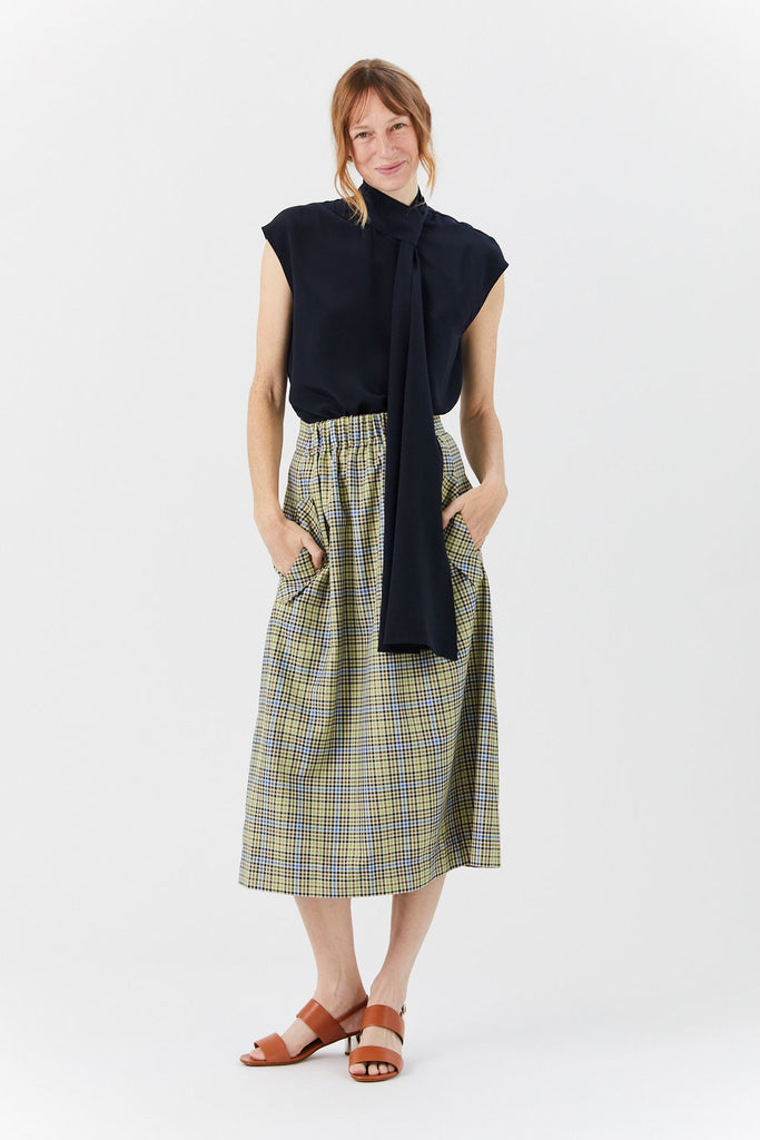 SMOCKED WAIST SKIRT, Green & Beige Check