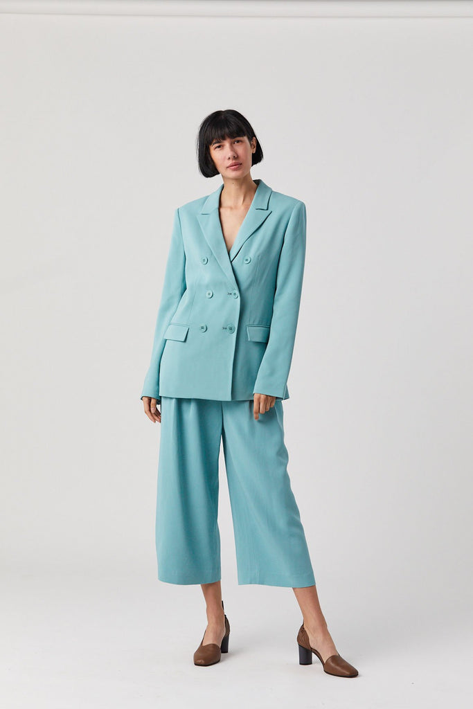 Stella Wide Leg Cropped Pants, Egg Blue