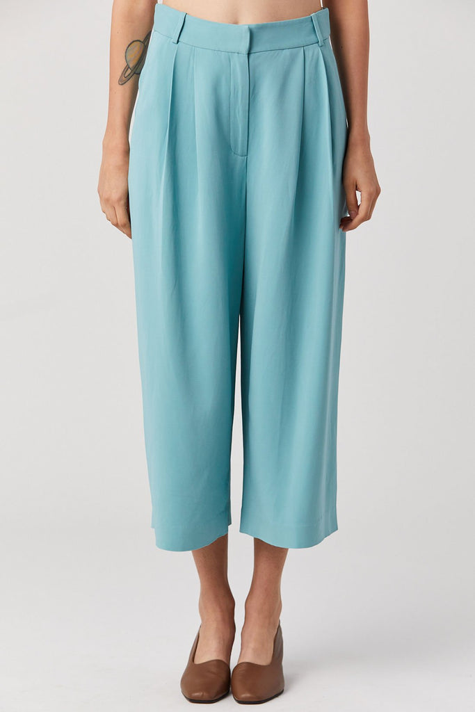 Tibi - Stella Wide Leg Cropped Pants, Egg Blue