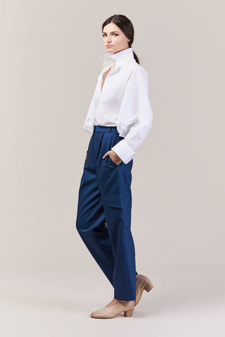 Straight Leg Paperbag Pant, Blue