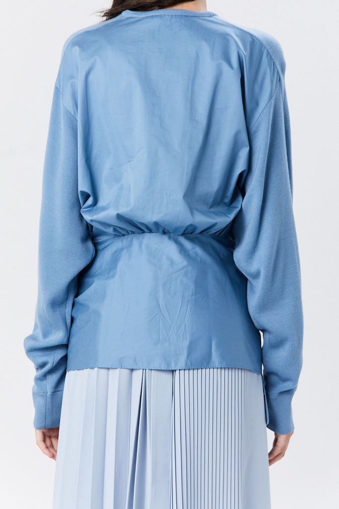Tibi - Woven Mix Tie Peplum Sweater, Chalk Blue