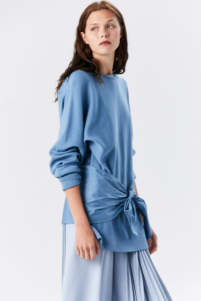 Woven Mix Tie Peplum Sweater, Chalk Blue