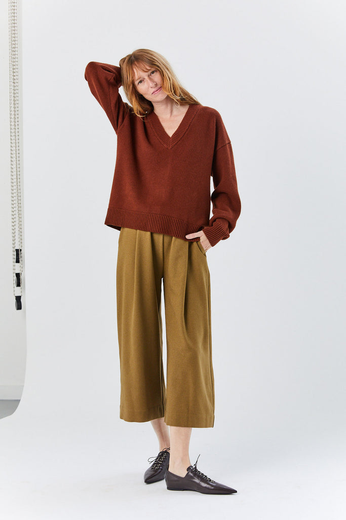 Two Way Cardigan Sweater, Russet Brown