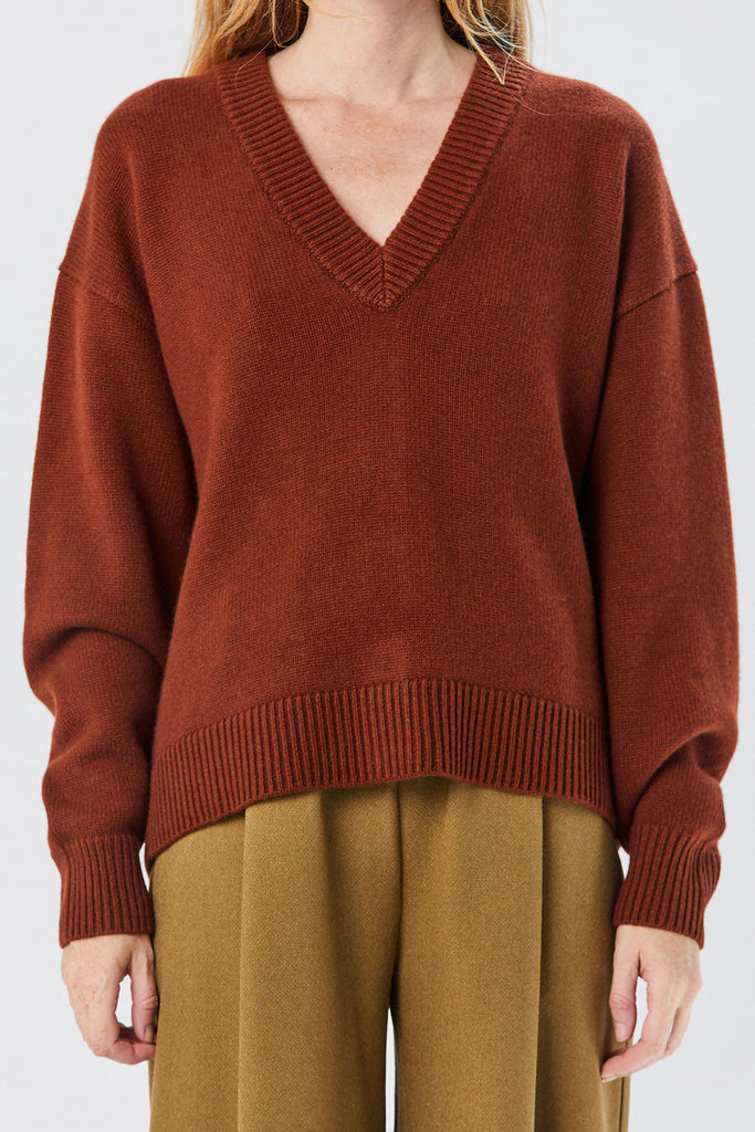 TIBI - Two Way Cardigan Sweater, Russet Brown