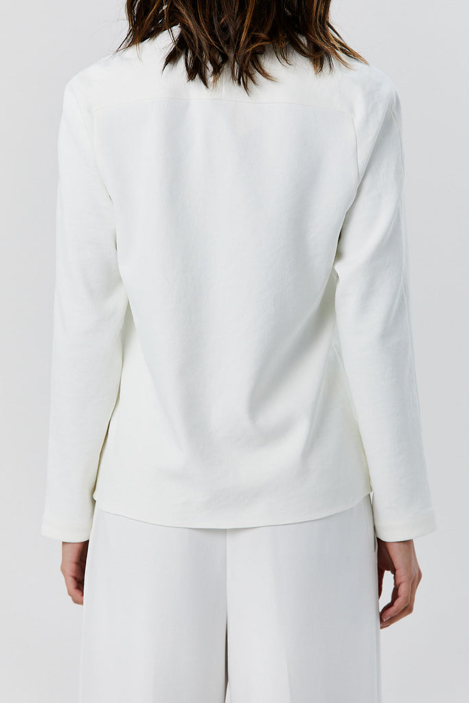 TIBI - V-Neck Raglan Top, Ivory