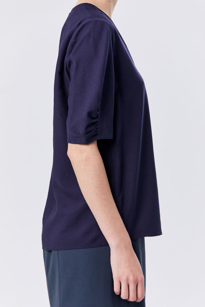 Tibi - Viscose Twill V-Neck Top, Navy