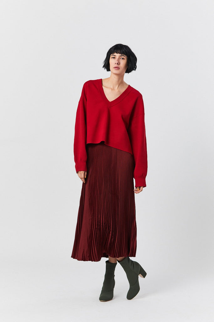 V-Neck Cropped Pullover, Cherry Red