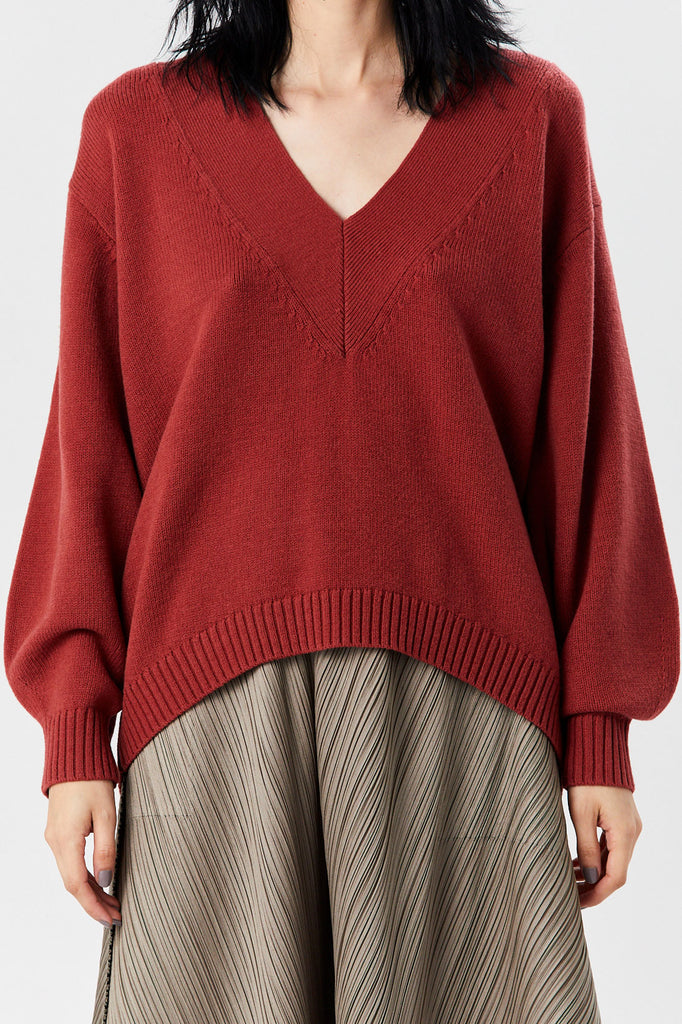 TIBI - Airy Extrafine Sweater, Dusty Red