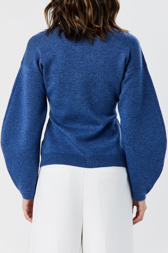 TIBI - Sculpted Melange Wool Sweater, Denim Blue