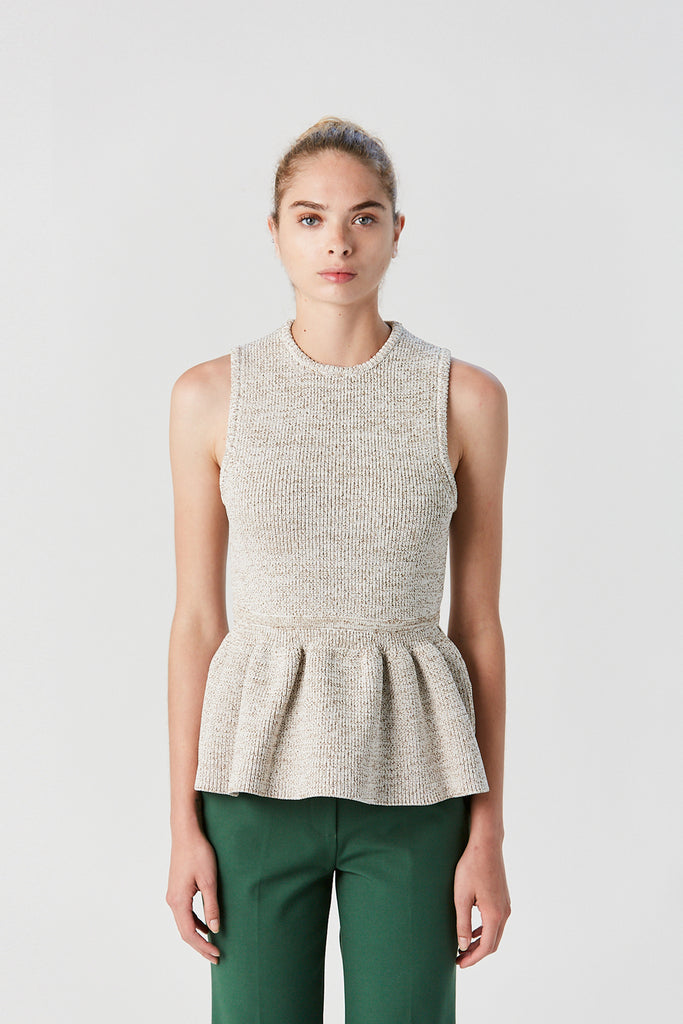 TIBI - Scultped Peplum Sleeveless Sweater, Cream Brown