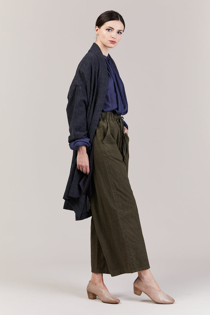 Shawl Draped Coat, Navy
