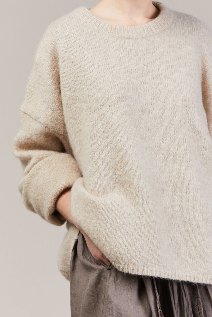 Biella Crew Cashmere Sweater, Off White