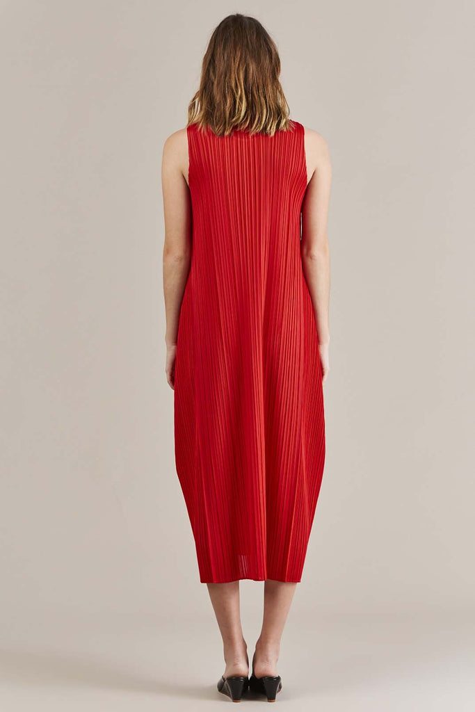 Red Pleated Dress by Pleats Please by Issey Miyake