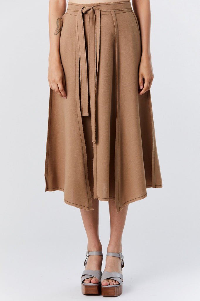 VERONIQUE LEROY - Long Angles Skirt, Camel