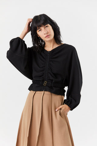 Zip Front Jacket, Black