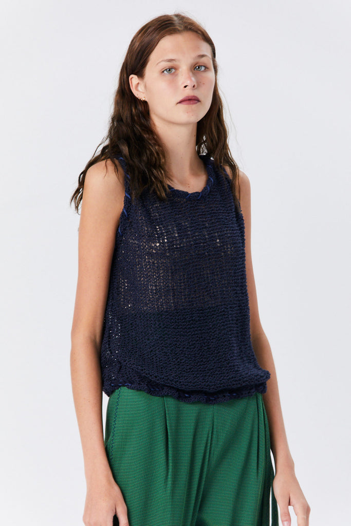 Veronique Leroy - Crochet Tank, Navy
