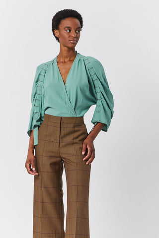 Insert Sleeve Blouse, Perse Green