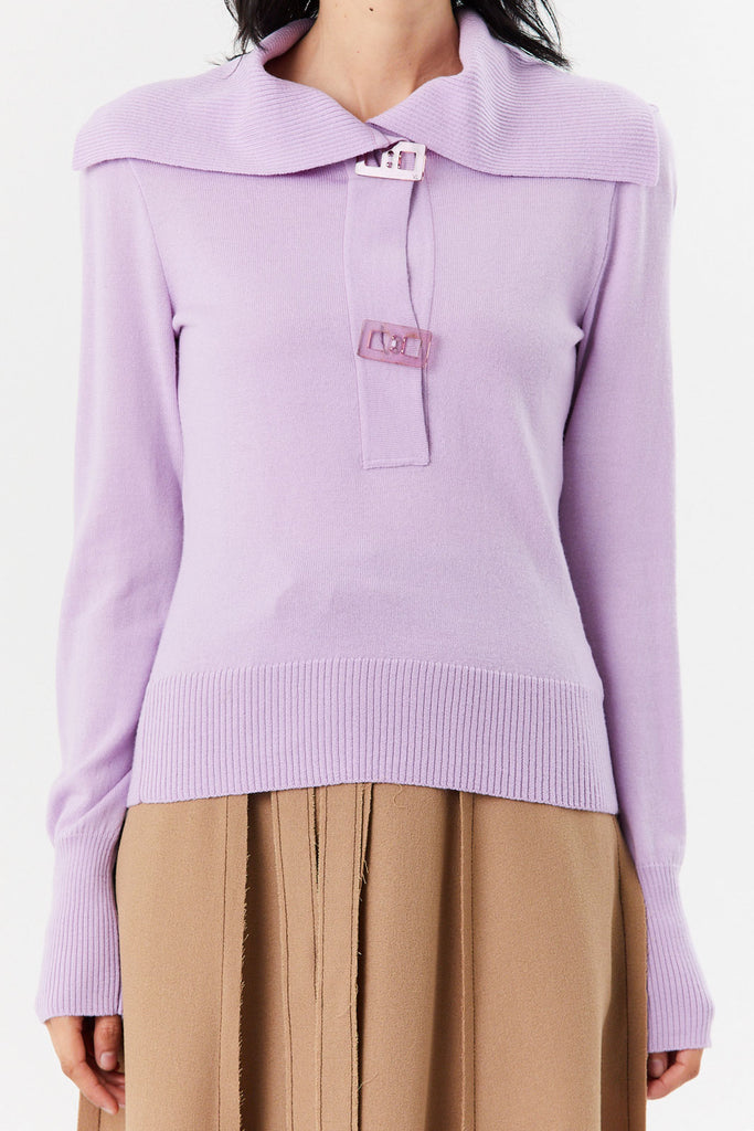 VERONIQUE LEROY - Polo Knit Top, Mauve