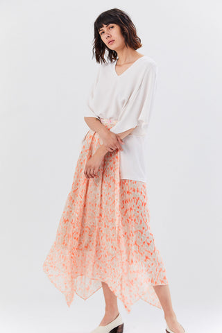 Printed Long Skirt, Sanguine