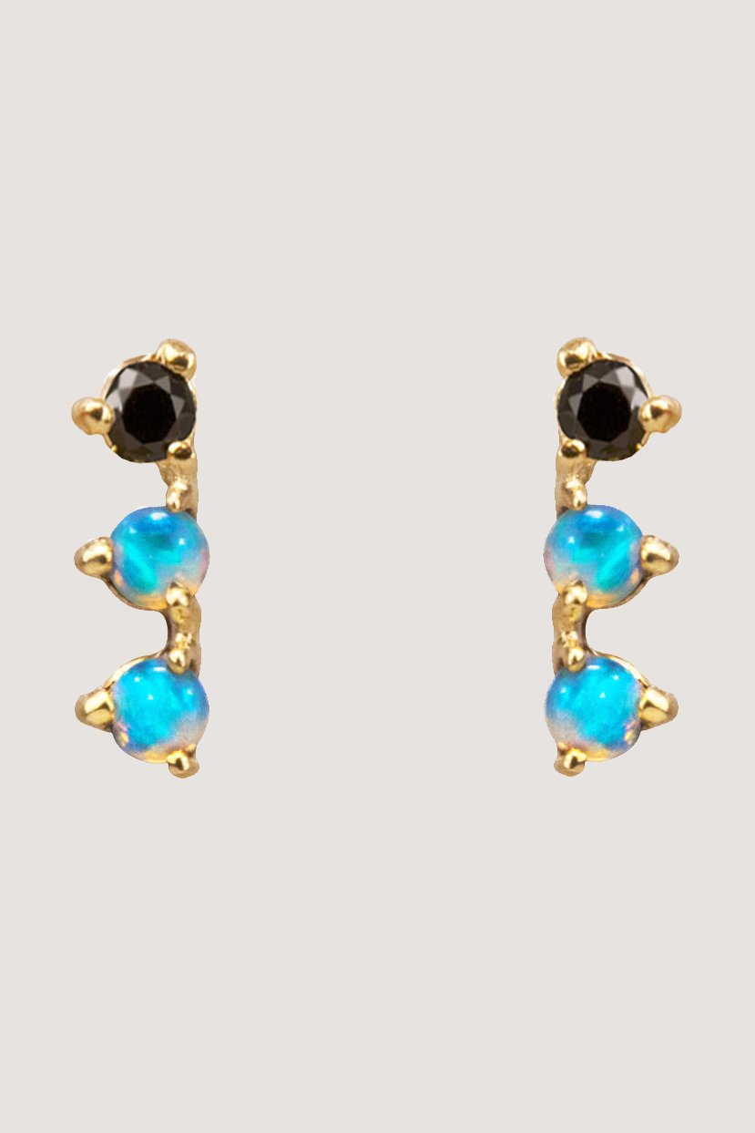 Wwake - 3 step earrings, opal & black diamond