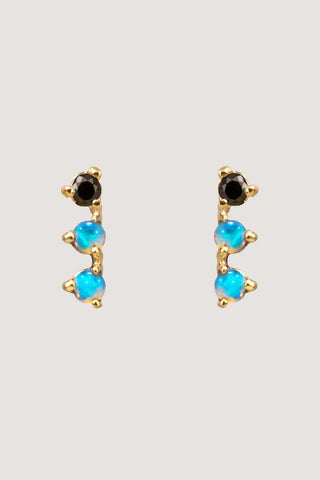 3 step earrings, opal & black diamond