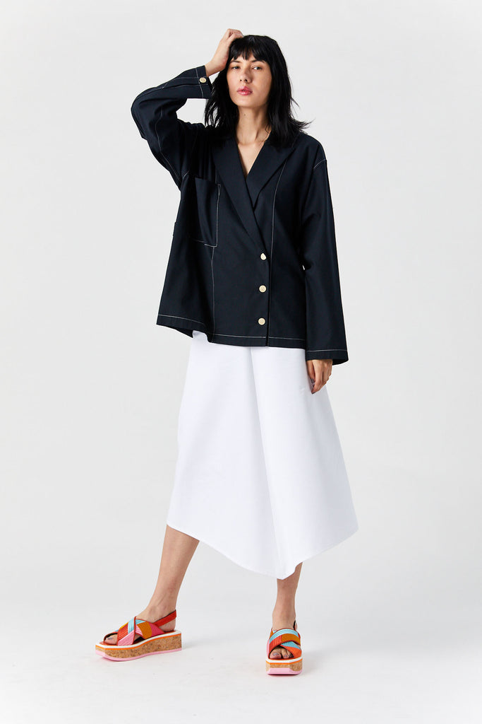 YUNE HO - Estelle Shirt Jacket, Navy