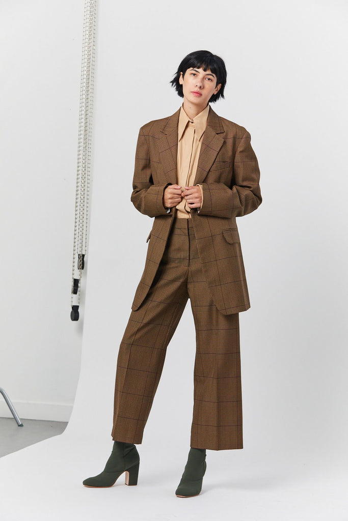 Jeanette Check Jacket, Brown