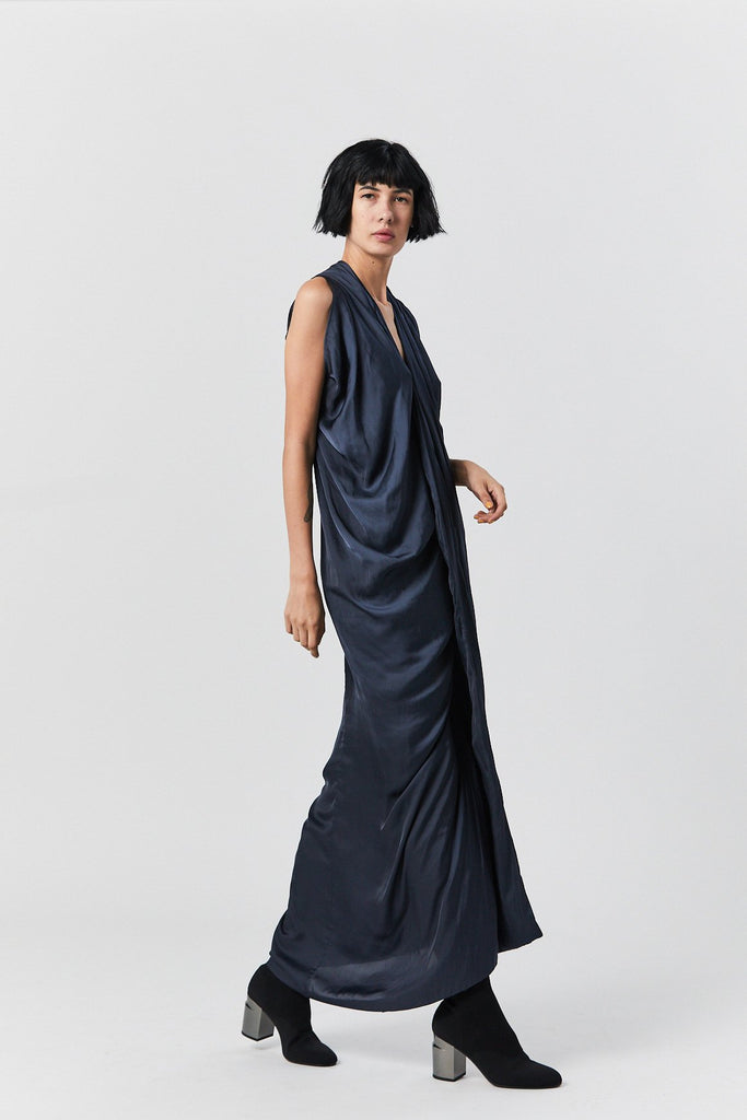 Zero + Maria Cornejo - Eve Long Foil Dress, Ink