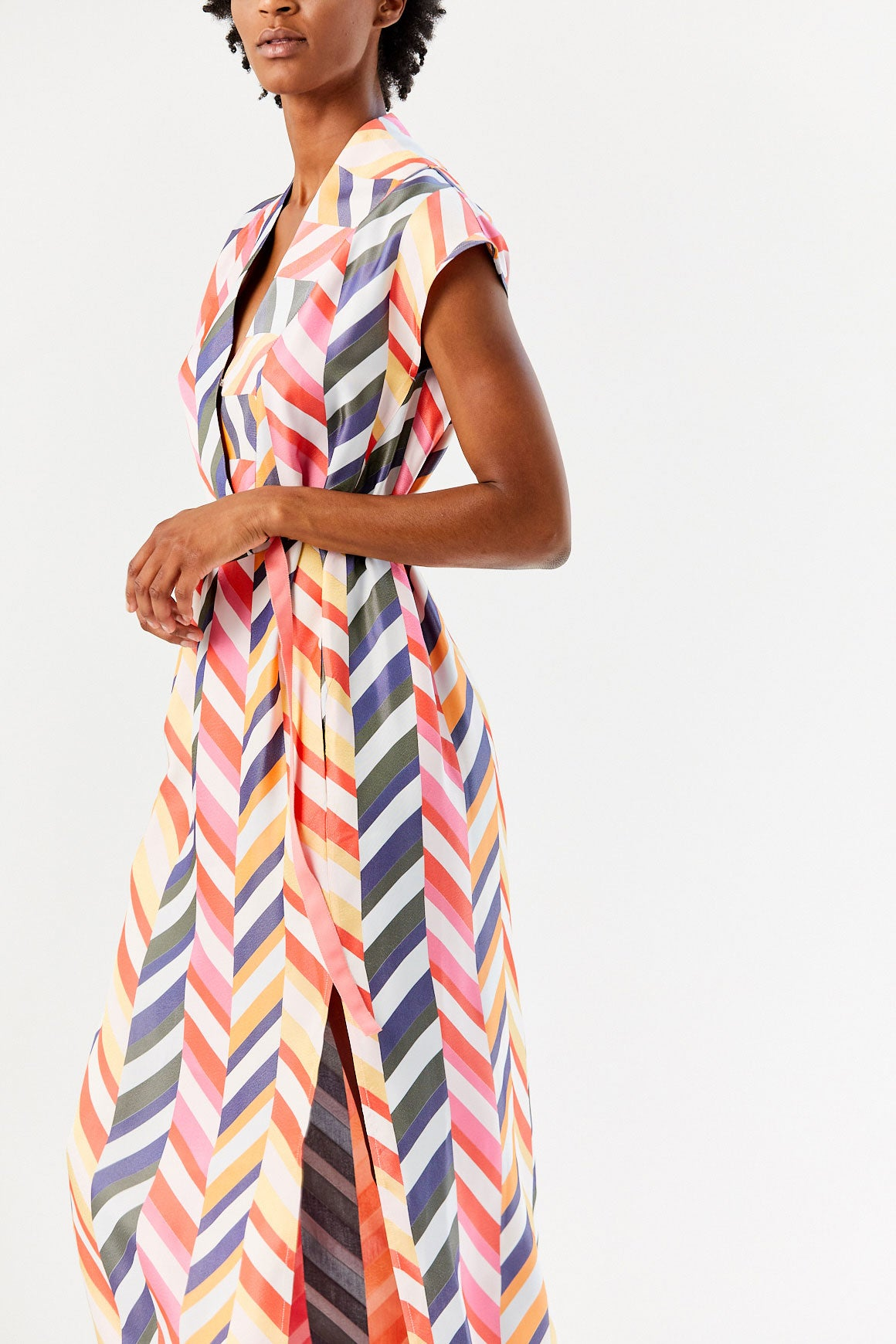 Long Leah Dress, White Multi