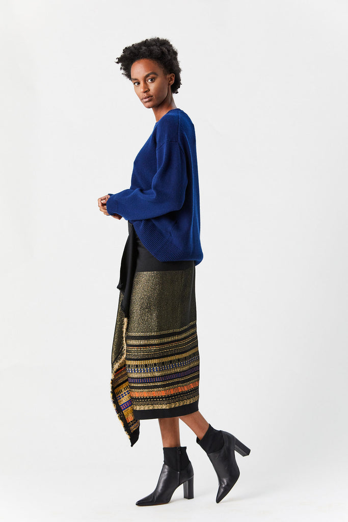 Zero + Maria Cornejo - Wrap Miro Skirt, Black & Gold