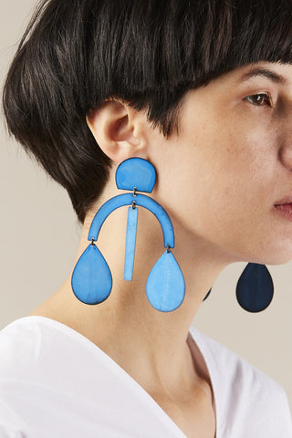 Arc Drop Chandelier Earring, Oxide Blue