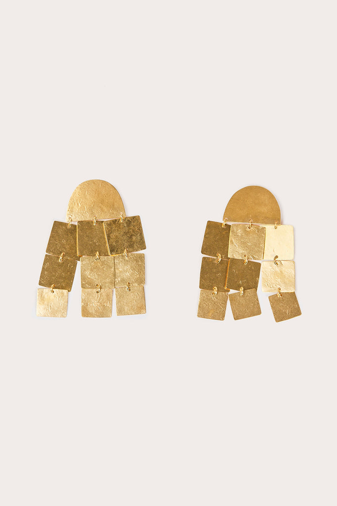 ACB - Cube Chandelier Earrings, Gold