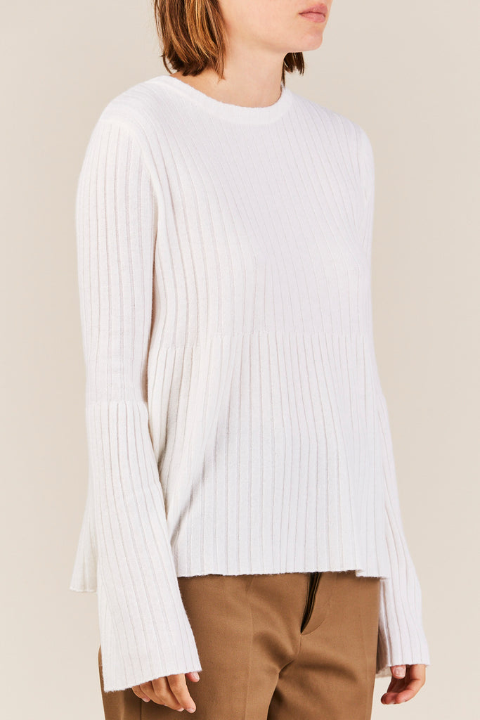 Allude - Ribbed Sweater w/ Trumpet Sleeve, Cream