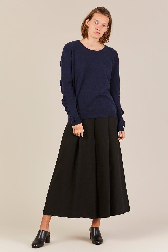 Sweater w/ Ruffle Sleeves, Navy
