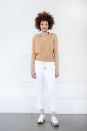 Allude - v-neck sweater, cognac