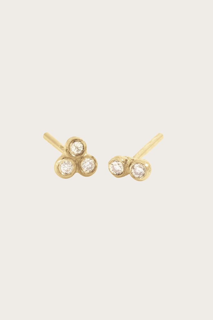 Asymmetrical Seed Studs, Yellow Gold/ White Diamond by Blanca Monros Gomez