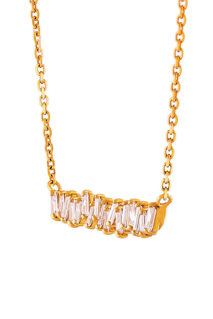 Baguette Fireworks Necklace, Gold