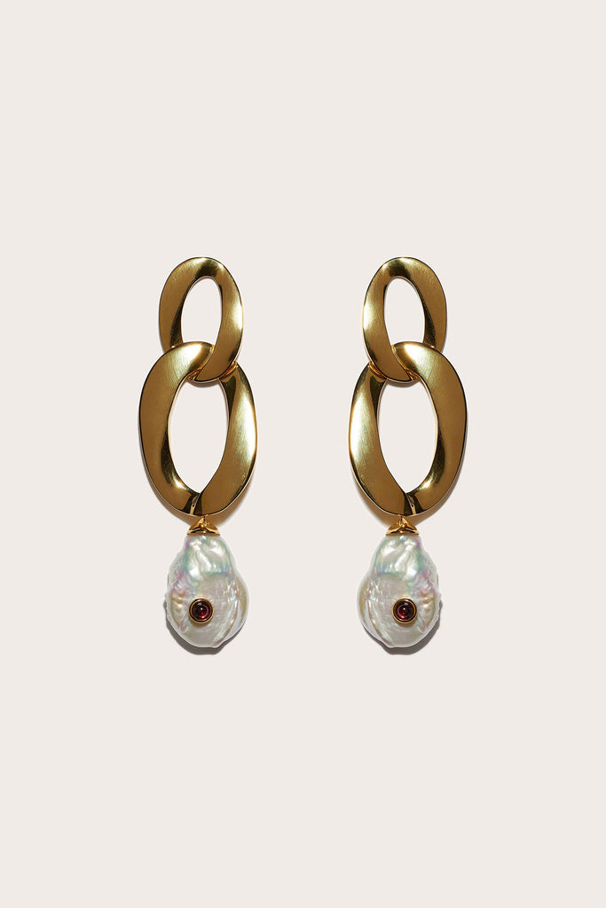 Basilicata Earrings, Gold & Pearl