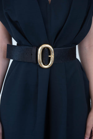 icon belt in calf hair, black
