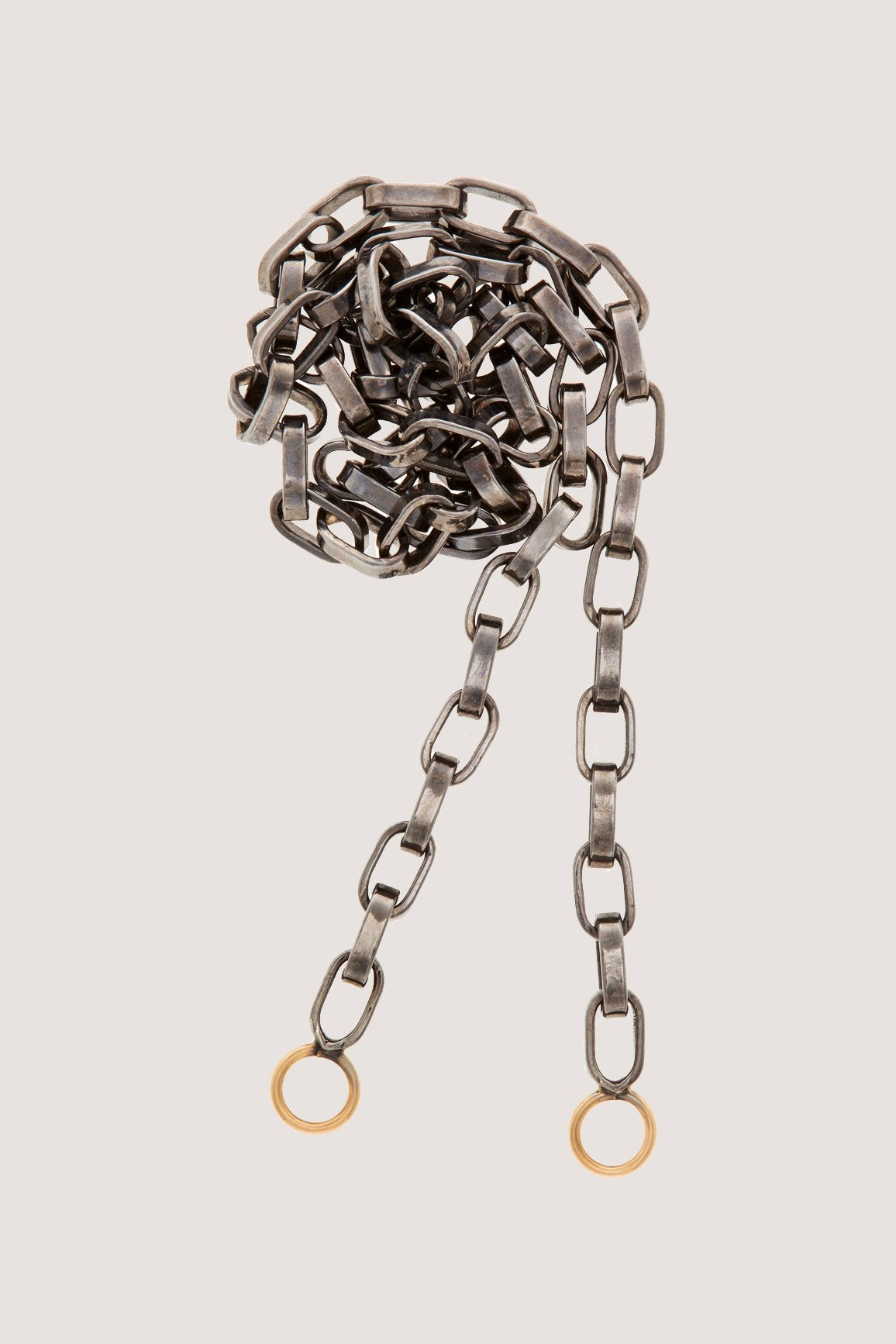 "Marla Aaron - 24"" Biker Chain, Silver with Gold Loops"