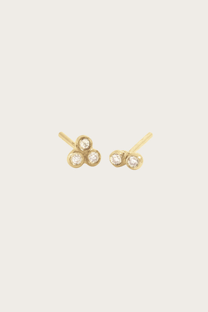 Asymmetrical Seed Studs, Yellow Gold/White Diamond by Blanca Monros Gomez
