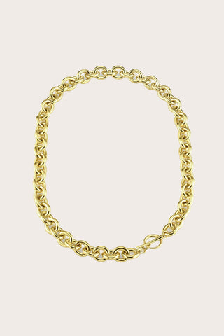 Chain Choker with Tusk Clasp, Gold Plate