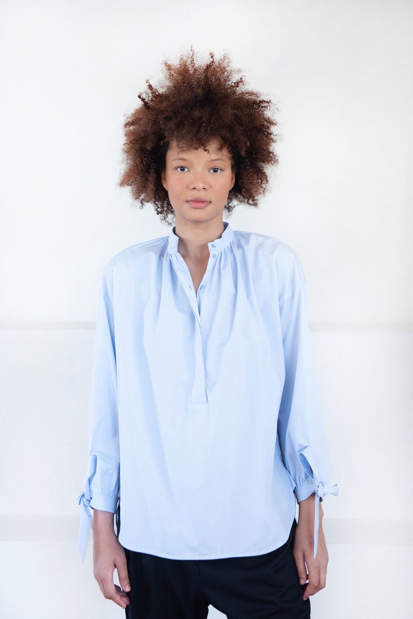 Christian Wijnants - TANNY cotton popover shirt, light blue